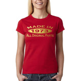 Made in 1973 All Original Parts Gold Womens T Shirt-Gildan-Daataadirect.co.uk