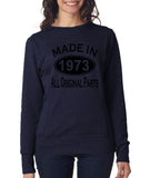 Made in 1973 All Original Parts Women Sweat Shirts Black-ANVIL-Daataadirect.co.uk