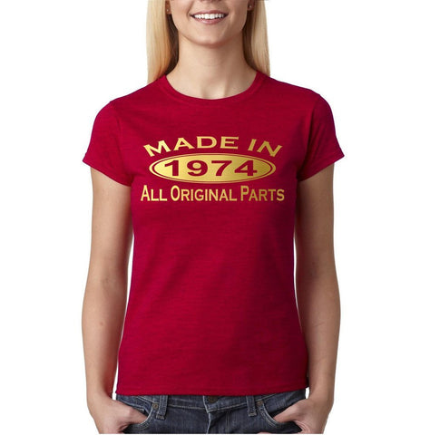 Made in 1974 All Original Parts Gold Womens T Shirt-Gildan-Daataadirect.co.uk