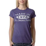 Made in 1974 All Original Parts Silver Womens T Shirt-Gildan-Daataadirect.co.uk