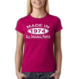 Made in 1974 All Original Parts White Womens T Shirt-Gildan-Daataadirect.co.uk