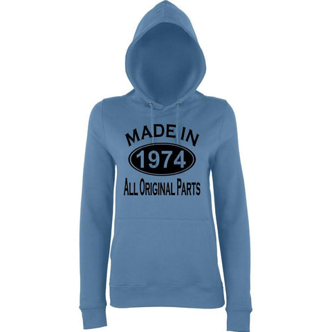 Made In 1974 All Orignal Parts Women Hoodies Black-AWD-Daataadirect.co.uk