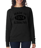 Made in 1974 All Original Parts Women Sweat Shirts Black-ANVIL-Daataadirect.co.uk