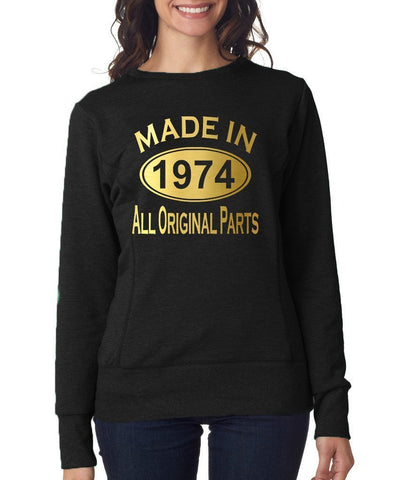 Made in 1974 All Original Parts Women Sweat Shirts Gold-ANVIL-Daataadirect.co.uk