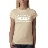 Made in 1975 All Original Parts White Womens T Shirt-Gildan-Daataadirect.co.uk