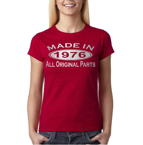 Made in 1976 All Original Parts Silver Womens T Shirt-Gildan-Daataadirect.co.uk