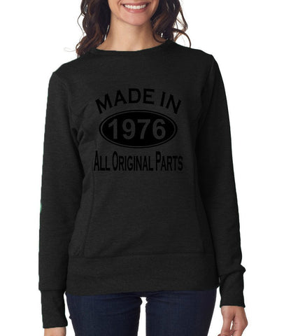 Made in 1976 All Original Parts Women Sweat Shirts Black-ANVIL-Daataadirect.co.uk