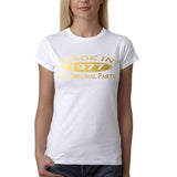 Made in 1977 All Original Parts Gold Womens T Shirt-Gildan-Daataadirect.co.uk