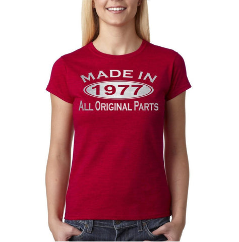Made in 1977 All Original Parts Silver Womens T Shirt-Gildan-Daataadirect.co.uk