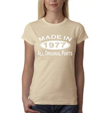Made in 1977 All Original Parts White Womens T Shirt-Gildan-Daataadirect.co.uk