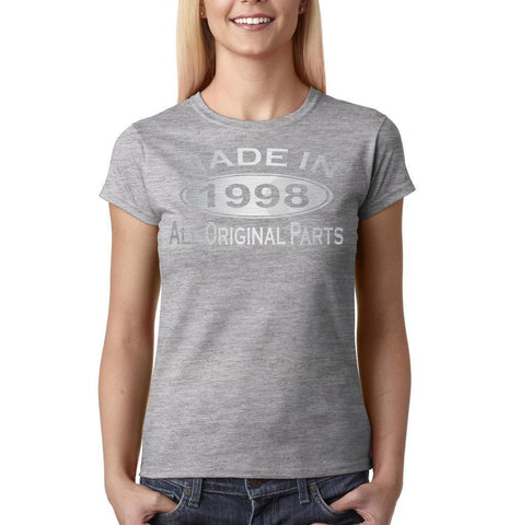 Made in 1978 All Original Parts Silver Womens T Shirt-Gildan-Daataadirect.co.uk