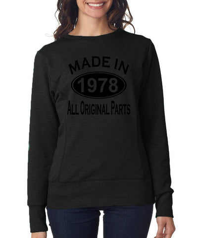 Made in 1978 All Original Parts Women Sweat Shirts Black-ANVIL-Daataadirect.co.uk