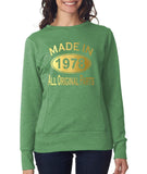 Made in 1978 All Original Parts Women Sweat Shirts Gold-ANVIL-Daataadirect.co.uk