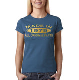 Made in 1979 All Original Parts Gold Womens T Shirt-Gildan-Daataadirect.co.uk
