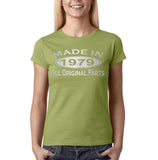 Made in 1979 All Original Parts Silver Womens T Shirt-Gildan-Daataadirect.co.uk
