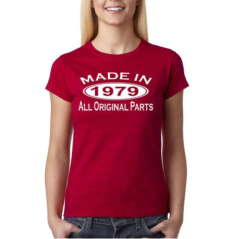 Made in 1979 All Original Parts White Womens T Shirt-Gildan-Daataadirect.co.uk