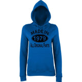 Made In 1979 All Orignal Parts Women Hoodies Black-AWD-Daataadirect.co.uk