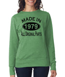 Made in 1979 All Original Parts Women Sweat Shirts Black-ANVIL-Daataadirect.co.uk