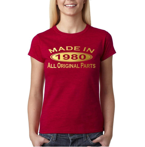 Made in 1980 All Original Parts Gold Womens T Shirt-Gildan-Daataadirect.co.uk