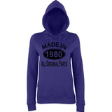 Made In 1980 All Orignal Parts Women Hoodies Black-AWD-Daataadirect.co.uk