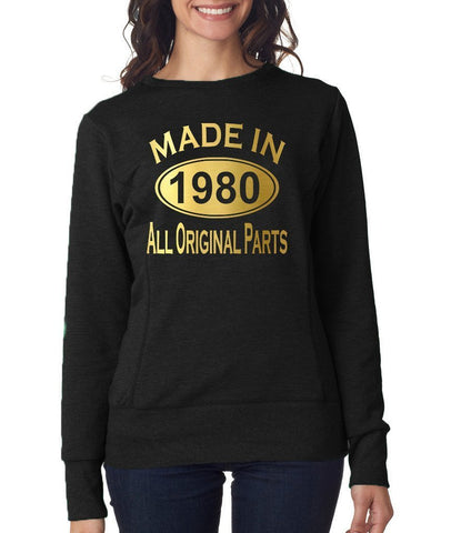 Made in 1980 All Original Parts Women Sweat Shirts Gold-ANVIL-Daataadirect.co.uk