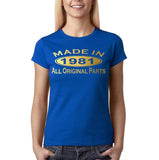 Made In 1981 All Original Parts Gold Womens T Shirt-Gildan-Daataadirect.co.uk
