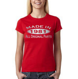 Made In 1981 All Original Parts Silver Womens T Shirt-Gildan-Daataadirect.co.uk