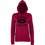Made In 1981 All Orignal Parts Women Hoodies Black-AWD-Daataadirect.co.uk