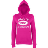 Made In 1981 All Orignal Parts Women Hoodies White-AWD-Daataadirect.co.uk