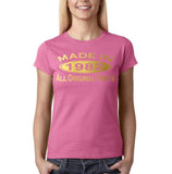 Made In 1982 All Original Parts Gold Womens T Shirt-Gildan-Daataadirect.co.uk