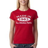 Made In 1983 All Original Parts White Womens T Shirt-Gildan-Daataadirect.co.uk