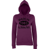 Made In 1983 All Orignal Parts Women Hoodies Black-AWD-Daataadirect.co.uk