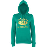 Made In 1983 All Orignal Parts Women Hoodies Gold-AWD-Daataadirect.co.uk