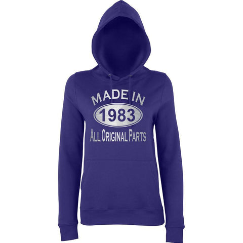 Made In 1983 All Orignal Parts Women Hoodies Silver-AWD-Daataadirect.co.uk