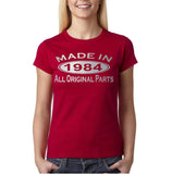 Made In 1984 All Original Parts Silver Womens T Shirt-Gildan-Daataadirect.co.uk