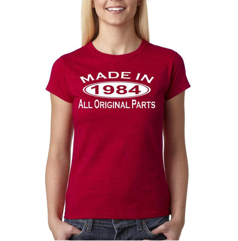 Made In 1984 All Original Parts White Womens T Shirt-Gildan-Daataadirect.co.uk