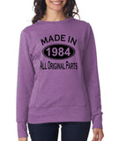 Made in 1984 All Original Parts Women Sweat Shirts Black-ANVIL-Daataadirect.co.uk