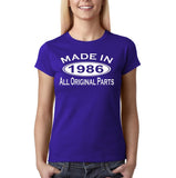 Made In 1986 All Original Parts White Womens T Shirt-Gildan-Daataadirect.co.uk