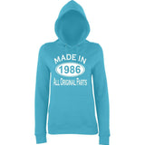Made In 1986 All Orignal Parts Women Hoodies White-AWD-Daataadirect.co.uk