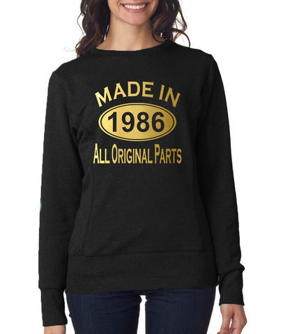 Made in 1986 All Original Parts Women Sweat Shirts Gold-ANVIL-Daataadirect.co.uk