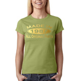 Made In 1987 All Original Parts Gold Womens T Shirt-Gildan-Daataadirect.co.uk