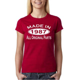 Made In 1987 All Original Parts White Womens T Shirt-Gildan-Daataadirect.co.uk
