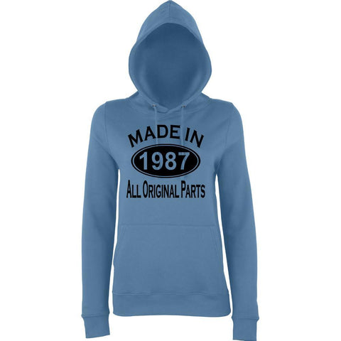 Made In 1987 All Orignal Parts Women Hoodies Black-AWD-Daataadirect.co.uk