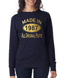 Made in 1987 All Original Parts Women Sweat Shirts Gold-ANVIL-Daataadirect.co.uk