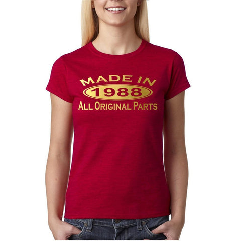 Made In 1988 All Original Parts Gold Womens T Shirt-Gildan-Daataadirect.co.uk