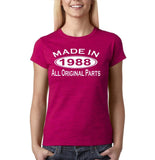 Made In 1988 All Original Parts White Womens T Shirt-Gildan-Daataadirect.co.uk