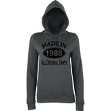 Made In 1988 All Orignal Parts Women Hoodies Black-AWD-Daataadirect.co.uk