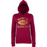 Made In 1988 All Orignal Parts Women Hoodies Gold-AWD-Daataadirect.co.uk