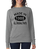Made in 1988 All Original Parts Women Sweat Shirts Black-ANVIL-Daataadirect.co.uk