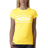 Made In 1989 All Original Parts White Womens T Shirt-Gildan-Daataadirect.co.uk